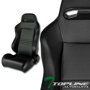 T r Sport Blk Stitch Pvc Leather Reclinable Racing Bucket Seats sliders Pair T01