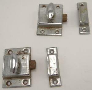 Pair 2 Matching Nickel Plated Hoosier Cabinet Latches Spring