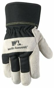 Men Winter Work Gloves With Leather Palm 100 Gram Insulation Suede Cowhide New