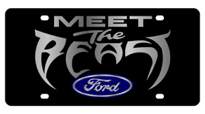 Ford Meet The Beast Carbon Stainless Steel 3d Logo Finish License Plate