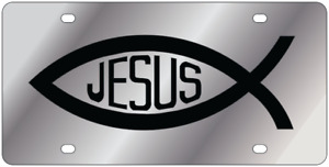 Jesus Fish L w Polished 3d Finish Logo Stainless Steel License Plate