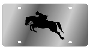 Horse 2 Mirror Polished 3d Finish Logo Stainless Steel License Plate