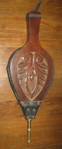 Antique Victorian Carved Wood Fireplace Bellows