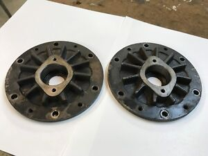 Pair Of Large Vintage Industrial Steampunk Cast Iron Sprocket Lamp Base Project