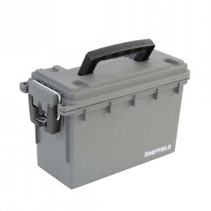 Sheffield 12628S Gray Ammo Can Tactical Hunting Fishing Tool Reload Field Box