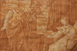 Antique French Early 19th Century Quilted Valance Drape Amber Toile Normandy