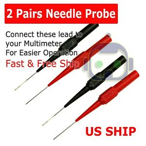 2x Multimeter Test Lead Extention Back Probes Sharp Needle Micro Pin For Banana