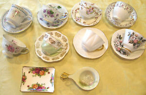 Vintage Lot Of 8 Fine Bone China Tea Cups 7 Saucers Strainer And Plate Lot