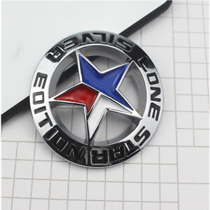 Chrome Silver Lone Star Emblem Sticker Trunk Badge For Dodge Ram 1500 2500 3500