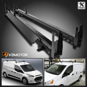 For 10 19 Nv200 2 Bar Van Roof Ladder Rack Cross Bars Steel Cargo Carrier Black