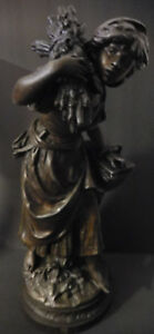 Antique Bronze Patinated Metal Statue Harvest Woman By Auguste Moreau