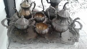 Antique Vintage Mixed Tea Service Silver On Copper And Silver Plate 3 Teapots