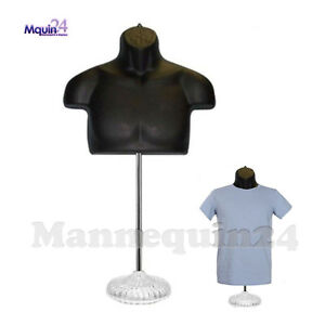 Male Torso Mannequin Form Black W Acrylic Base