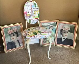 Mid Century Regency Vanity Chair Boudoir Make Up Stool Vintage 1960s Paris Theme