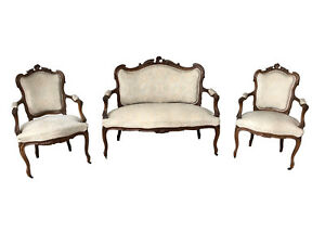 Nicely Priced French Louis Xv Salon Set Neutral Fabric Walnut