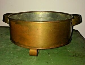 Solid Copper Antique Round Footed Pan Planter Handles Tinned Vtg