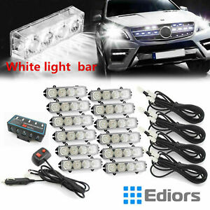 48led White Amber Warning Hazard Emergency Beacon Flash Strobe Work Light Bar