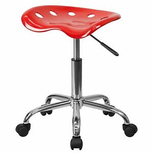 Delacora Lf 214a red gg Red 17 Wide Metal Swivel Seat Stool With Tractor Seat