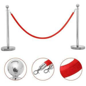2 Silver Stanchion With Red Velvet Rope Post Crowd Control Queue Pole Barrier