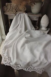 Antique French Linen Sheet Trousseau Fine Fil Gl Stunning Finely Woven 92 X 130