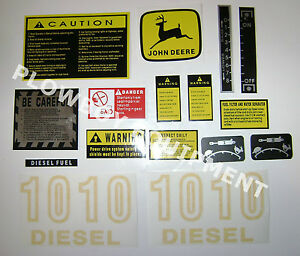 Jd1010 Hood Safety Decal Set For John Deere 1010 Diesel Tractor