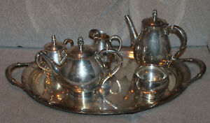 5 Pc Royal Danish Tea Set With Tray Sterling Silver By International 181 Troy Oz