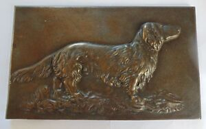 Rare German Bronze Iron Wall Mount Plaque Long Haired Dachshund By Brill