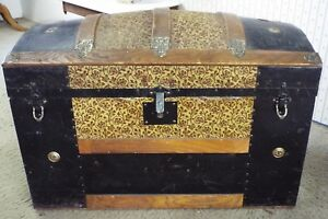 Old Antique Large Victorian Humpback Ornate Tin Wood Steamer Trunk Chest