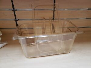 Set Of 4 Cambro Clear Plastic Steam Prep Table Food Pan 1 3 Size 12x6x6