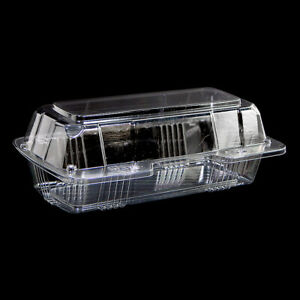 New Polar Pak 21575 Case Of 250 Clear Hinged Sub Take out Container 8x4x3