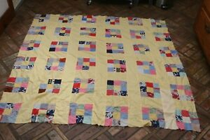 Vintage Antique Patchwork Quilt Top Yellow Background For Finishing 59x60
