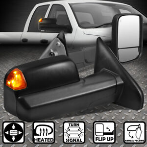 For 02 09 Dodge Ram Truck Pair Powered Heated Led Turn Signal Tow Towing Mirror