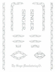 Singer Model 15 Sewing Machine Restoration Decals Silver Metallic 40701s