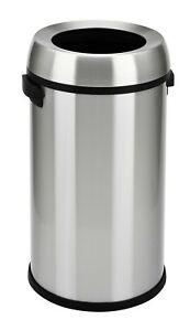 Commercial Open Top Trash Can Stainless Steel 17 Gallon