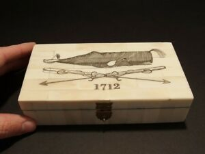 Antique Style Folk Whale Harpoon Scrimshaw Bone Wood Trinket Box