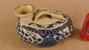 Antique 18c Chinese Blue White Porcelain Chamber Pot Bats