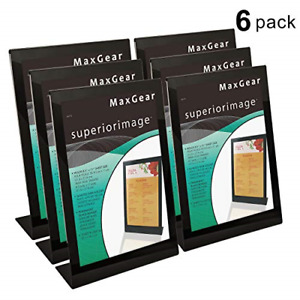 Maxgear Slant back Sign Holder Extra Thick Durable Quality Clear Acrylic Stand