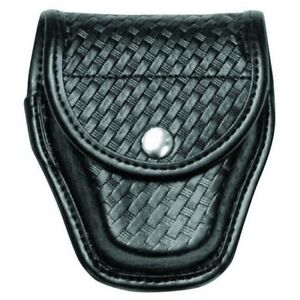 Bianchi 7918 Black Basketweave Accumold Handcuff Case W black Chrome Snap