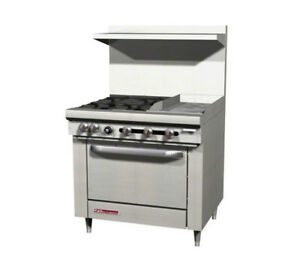 Southbend S36d 1gr 36 Gas 4 Burner Restaurant Range Std Oven 12 Griddle Right