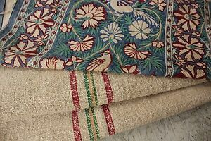Vintage French Fabrics Antique Material Project Bundle Arts And Crafts Linen O