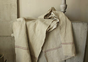 Vintage Grain Sack Fabric Washed W Red Stripes Linen 4 1 Yards Table Runner