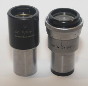 Carl Zeiss Kpl w 10x Microscope Eyepiece Set One Adjustable With Reticle Holder