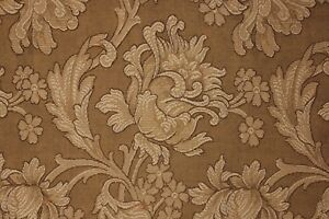 Antique Fabric French Art Nouveau Woven Damask Panel Large Scale Pattern