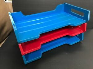 Vintage 70s Set Of 3 Rogers Plastic In Out Box Trays Legal Size Office Supplies