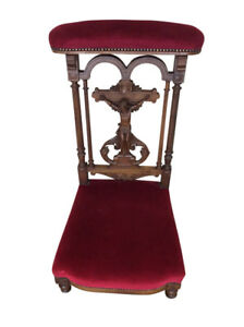 Nice Antique French Gothic Church Kneeler Prayer Chair Walnut