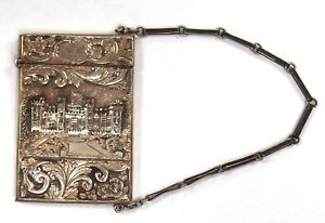 Victorian Nathaniel Mills Ornate Hand Engraved Card Case W Chain Circa 1830 S
