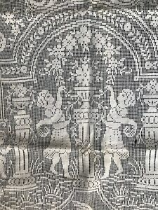 Antique Table Runner Figural Lace Angels Cherubs Net Valentines As Is For Crafts
