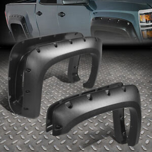 For 07 14 Chevy Silverado Fleetside 4pcs Pocket riveted Side Wheel Fender Flares