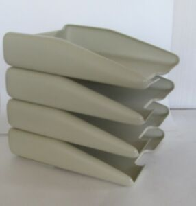 4 Vintage 1983 Eldon Image Stackable Front Loading Letter Trays Putty 4 Stack