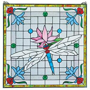Victorian Dragonfly Pink Flower Stained Glass Window Art Wall Decor